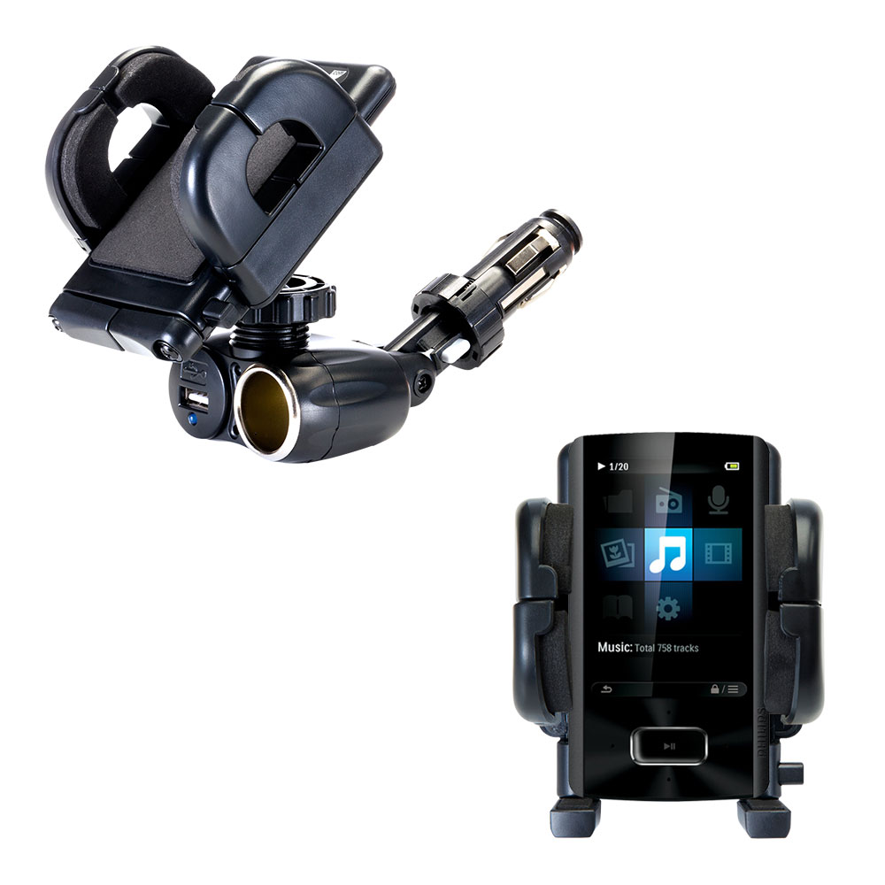 Dual USB / 12V Charger Car Cigarette Lighter Mount and Holder for the Philips GoGear Ariaz