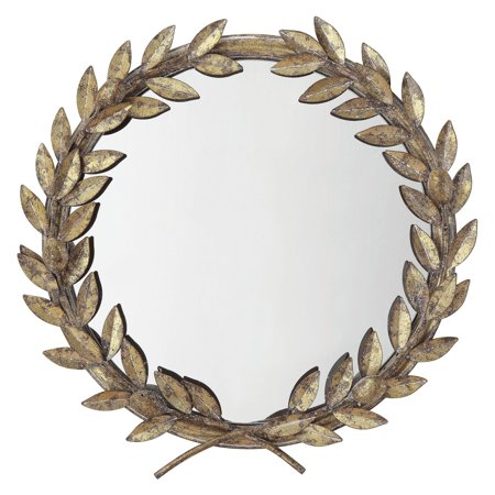 3 R Studios Antique Gold Laurel Wreath Wall Mirror   17.75 W X 18.5 H In. by 3 R Studios