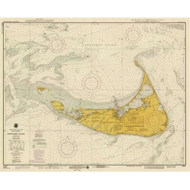 Bentley Global Arts PDX450542SMALL Nautical Chart - Nantucket Island Ca. 1975 - Sepia Tinted Poster Print by Noaa Historical Map-Chart, 8 x 10 - Small - image 1 of 1