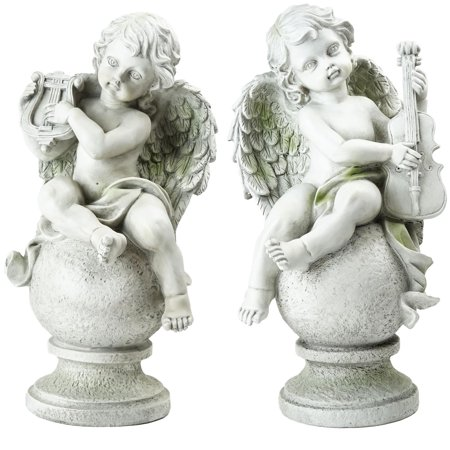 Northlight Set of 2 Cherub Angels with Instruments Sitting on Finials Outdoor Garden Statues 14.75