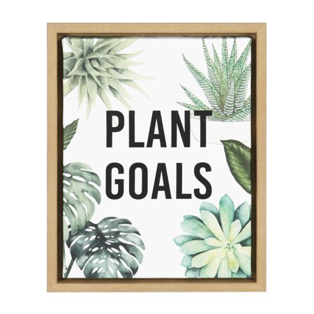 Kate and Laurel Sylvie Plant Goals 11x14 Natural Framed Canvas Wall ...