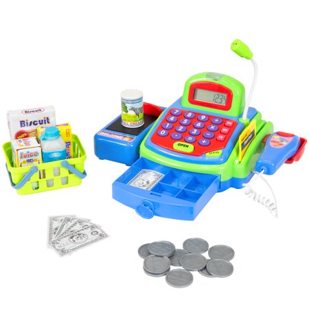 Best Choice Products Kids Educational Pretend Toy Cash Register Play Set w/ Money, Groceries, Scanner, Calculator, Microphone - Multi