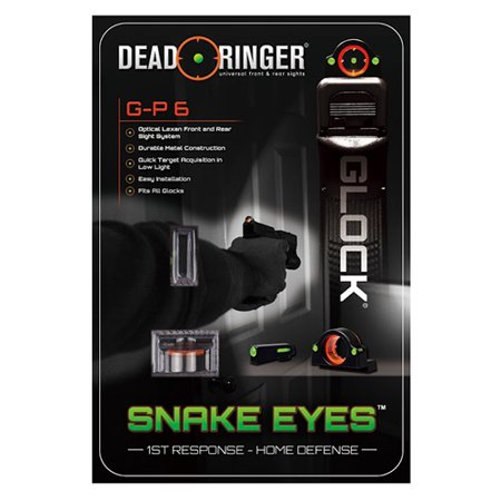 Dead Ringer Glock G-P 6 Optical Lexan Front and Rear Sights - Glock Green Front Sight