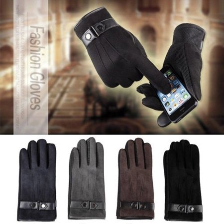 Suede Leather Winter Mens Warm Fleece Lined Thermal Touch Screen Driving Gloves (Under Armour Touch Screen Gloves)