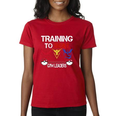 Allwitty 1114 - Women's T-Shirt Training Beat Gym Leaders Pokemon (Pokemon Black And White Gym Leaders Badges)