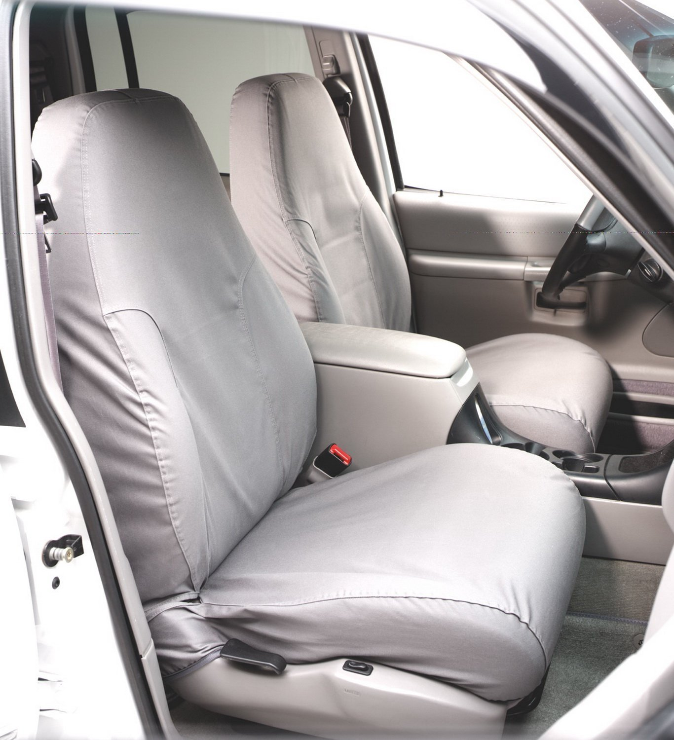 Covercraft SeatSaver Front Row Custom Fit Seat Cover for Select Chevrolet Express/GMC Savana Models - Polycotton (Grey)