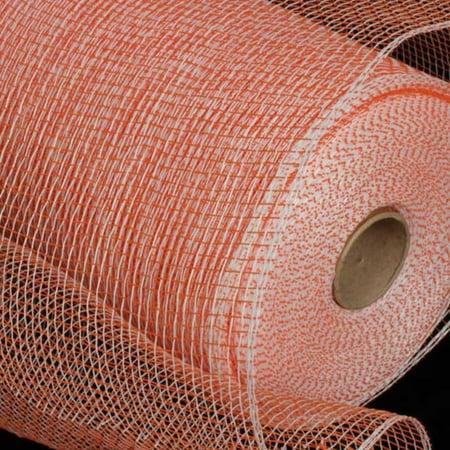 Orange and White Deco Mesh Craft Ribbon 6.5 x 120 Yards