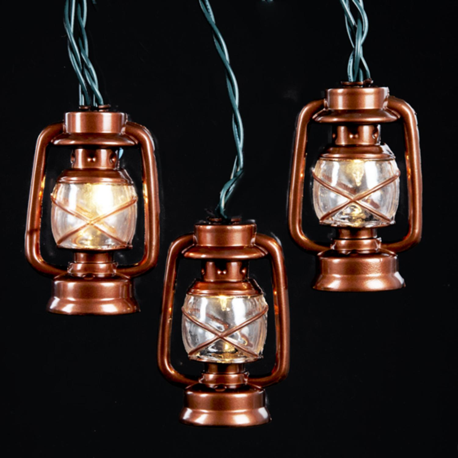 Set of 10 Brass Lantern Novelty Christmas Lights - Green Wire