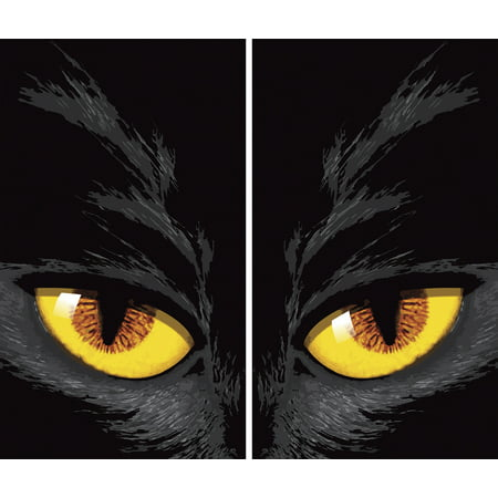 "WOWindow Posters Yellow Cat Eyes Halloween Window Decoration Two 34.5""x60"