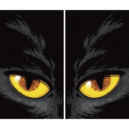 "WOWindow Posters Yellow Cat Eyes Halloween Window Decoration Two 34.5""x60"
