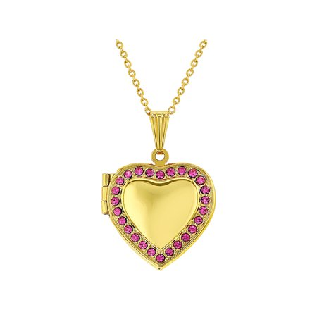 Gold Tone Pink Crystal Photo Pendant Heart Locket Necklace for Girls 19""