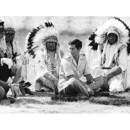 Prince Charles Attending Blackfoot Indian Tribal Ceremony in Calgary,  Canada Print Wall Art