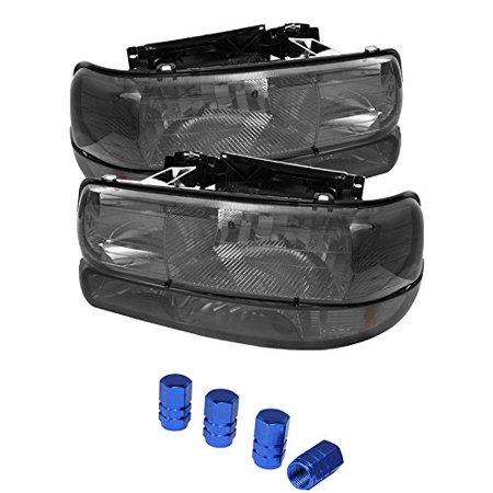 Chevy Silverado 1500/2500 / Chevy Silverado 3500 / Chevy Suburban 1500/2500 / Chevy Tahoe Amber Crystal Headlights With Bumper Lights Smoke Lens with Chrome Housing