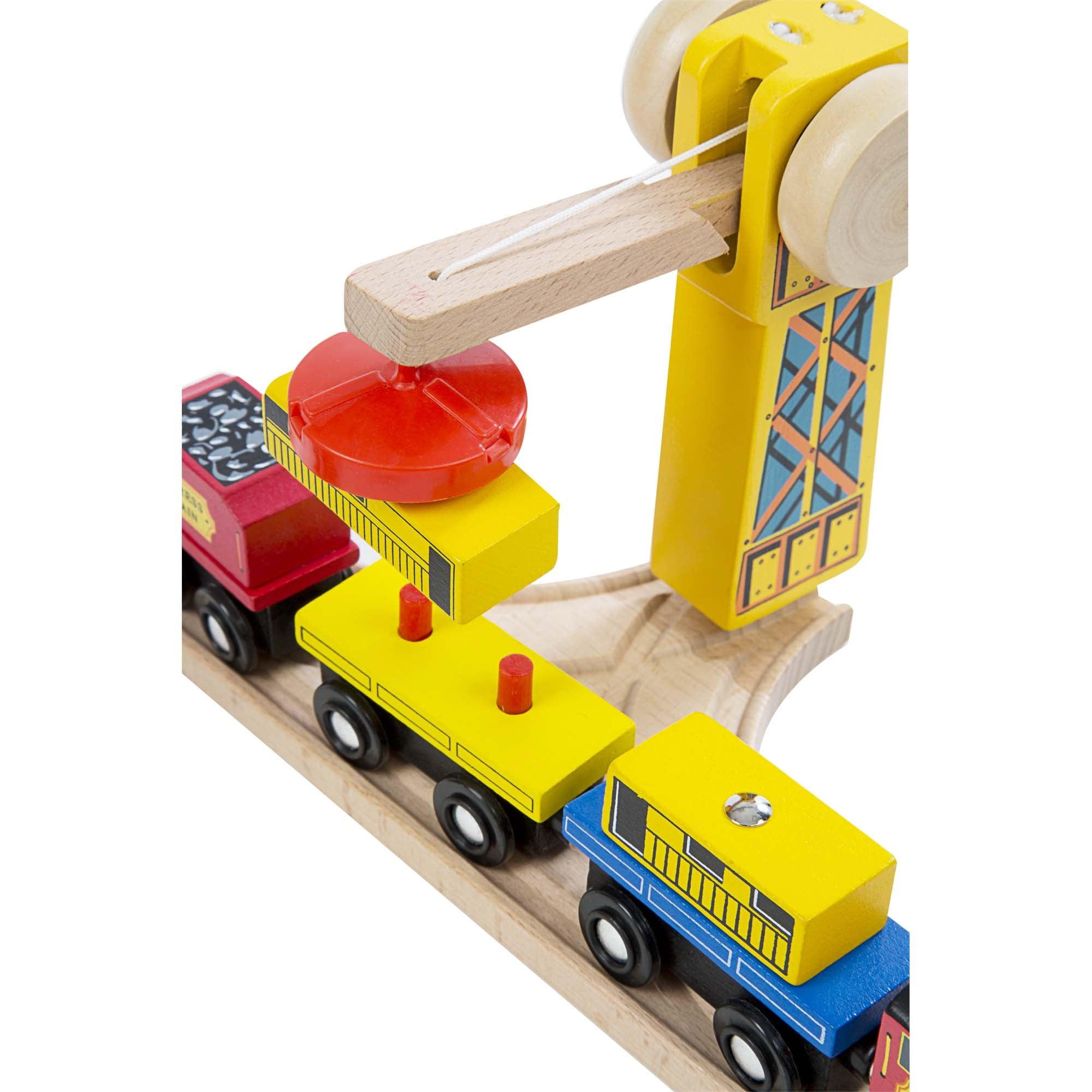 Melissa Doug Wooden Railway Set Vehicles High Quality