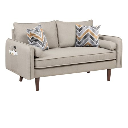 4.75' Cream Beige Mid-Century Modern Loveseat Couch with USB Charging Ports and Pillows