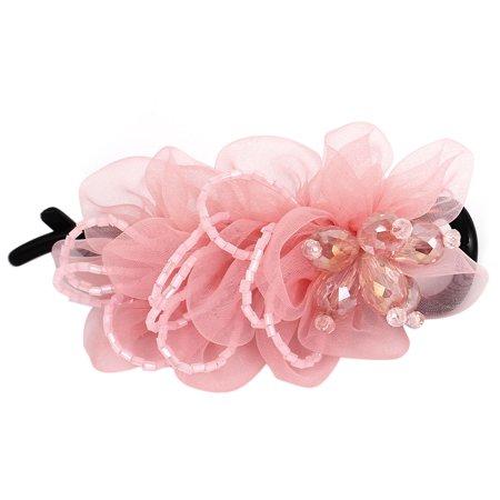- Plastic Teeth Rhinestone Bead Flower Decor Hair Clip Barrette for Lady Pink