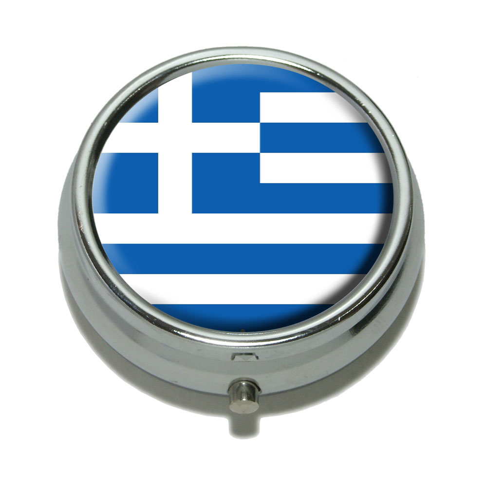Greece Greek Flag Pill Box by Graphics and More