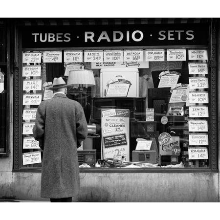 1940s Man Looking At Window Display Of Radios On Sale In New York City Poster Print By Vintage - Halloween Window Displays New York
