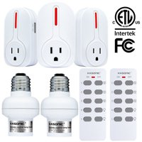 Wireless Remote Control Outlets, ANKO Smart Home Remote Control Combo Set(3 electrical outlets 2 lights with 2 remotes)