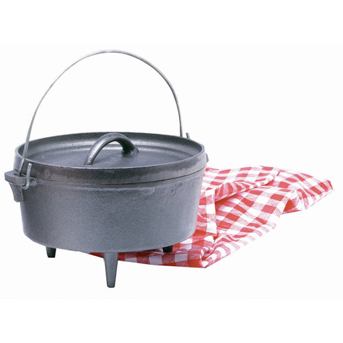 Texsport Cast Iron 4 qt Dutch Oven with Legs, Recessed Lid