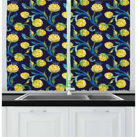 Artichoke Curtains 2 Panels Set, Watercolor Artichokes Abstract Color Scheme Art Nouveau, Window Drapes for Living Room Bedroom, 55W X 39L Inches, Dark Blue Violet Blue and Yellow, by Ambesonne Art Nouveau Bedroom