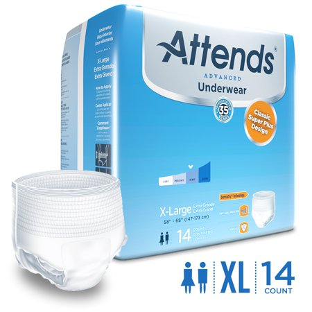 Attends Advanced Adult Incontinence Underwear  Xl  Unisex With Advanced Dermadry Technology   14 Count