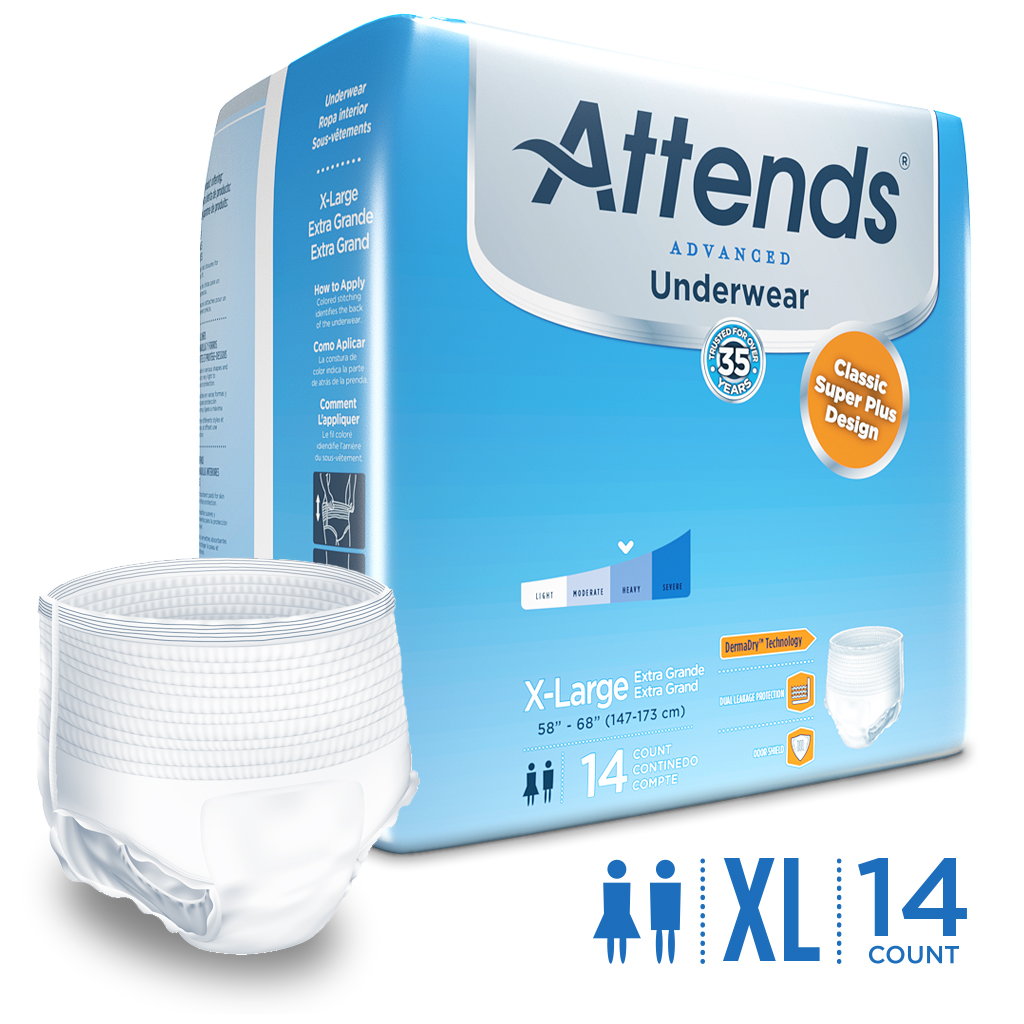 Attends Advanced Protective Underwear, X-Large, Unisex, with Advanced DermaDry™ Technology for Adult Incontinence Care (14 count)
