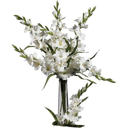 "Nearly Natural 36"" Gladiola Stem, White, 12pc"