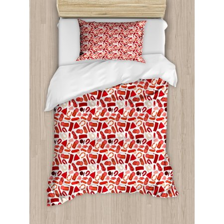 Twin Pros Steak Set - Bacon Duvet Cover Set Twin Size, Appetizing Yummy Farm Meat and Sausages Pattern with Beef Steaks Pork Ribs and Ham, Decorative 2 Piece Bedding Set with 1 Pillow Sham, Multicolor, by Ambesonne