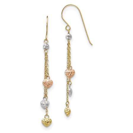 14K Tri Color Gold Tri-color Diamond Cut Triple Heart Dangle Shepherd Hook Earrings