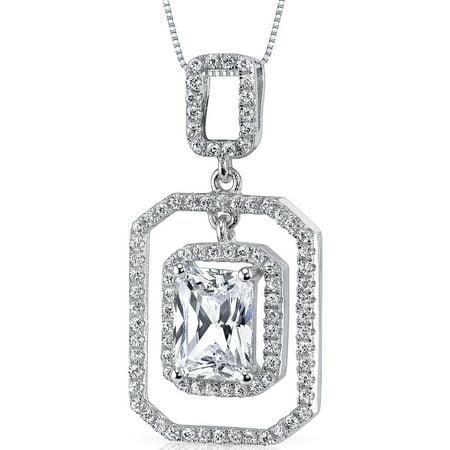 "Peora 2.40 Carat T.G.W. Radiant Cut Cubic Zirconia Rhodium over Sterling Silver Pendant, 18"""