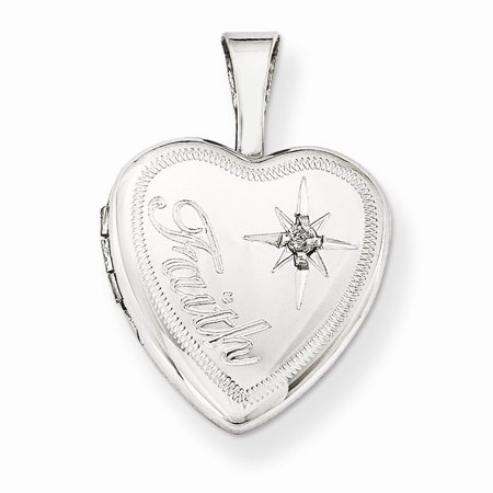 Sterling Silver and Diamond Faith 12mm Heart Locket - .010 dwt ()