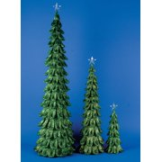 Set of 3 Whimsical Looped Green Glitter Table Top Christmas Trees