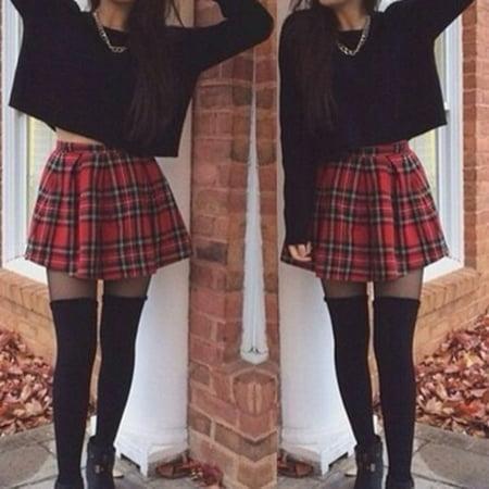 Girls Sailor Scotland Plaid Checks School Uniform Pleated Skirt Cotton Tartan ()
