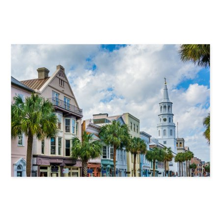Charleston Gallery - NOIR Gallery Charleston South Carolina Palm Trees and Architecture Canvas Wall Art
