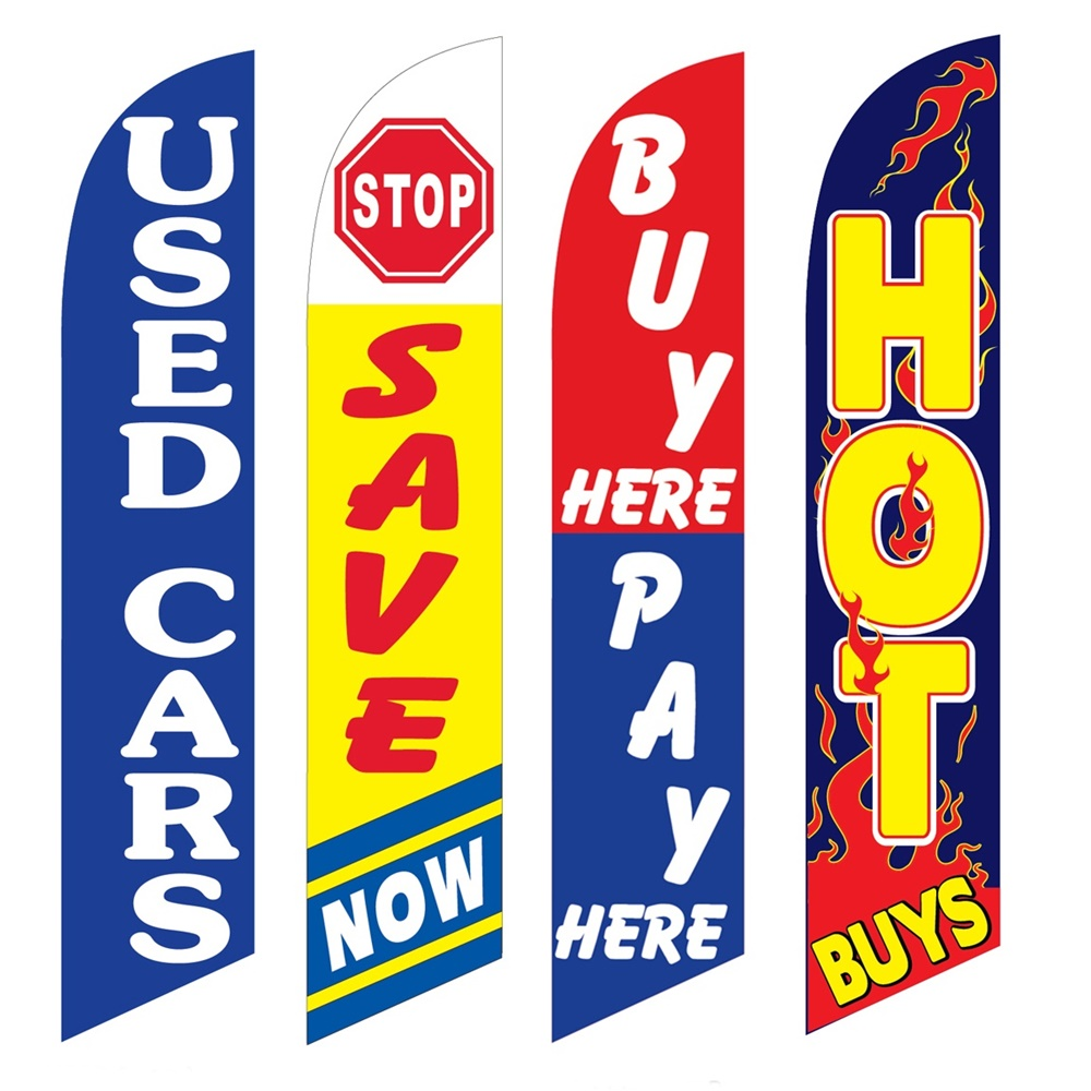 4 Advertising Swooper Flags Used Cars Save Now Buy Pay Here Hot Buys