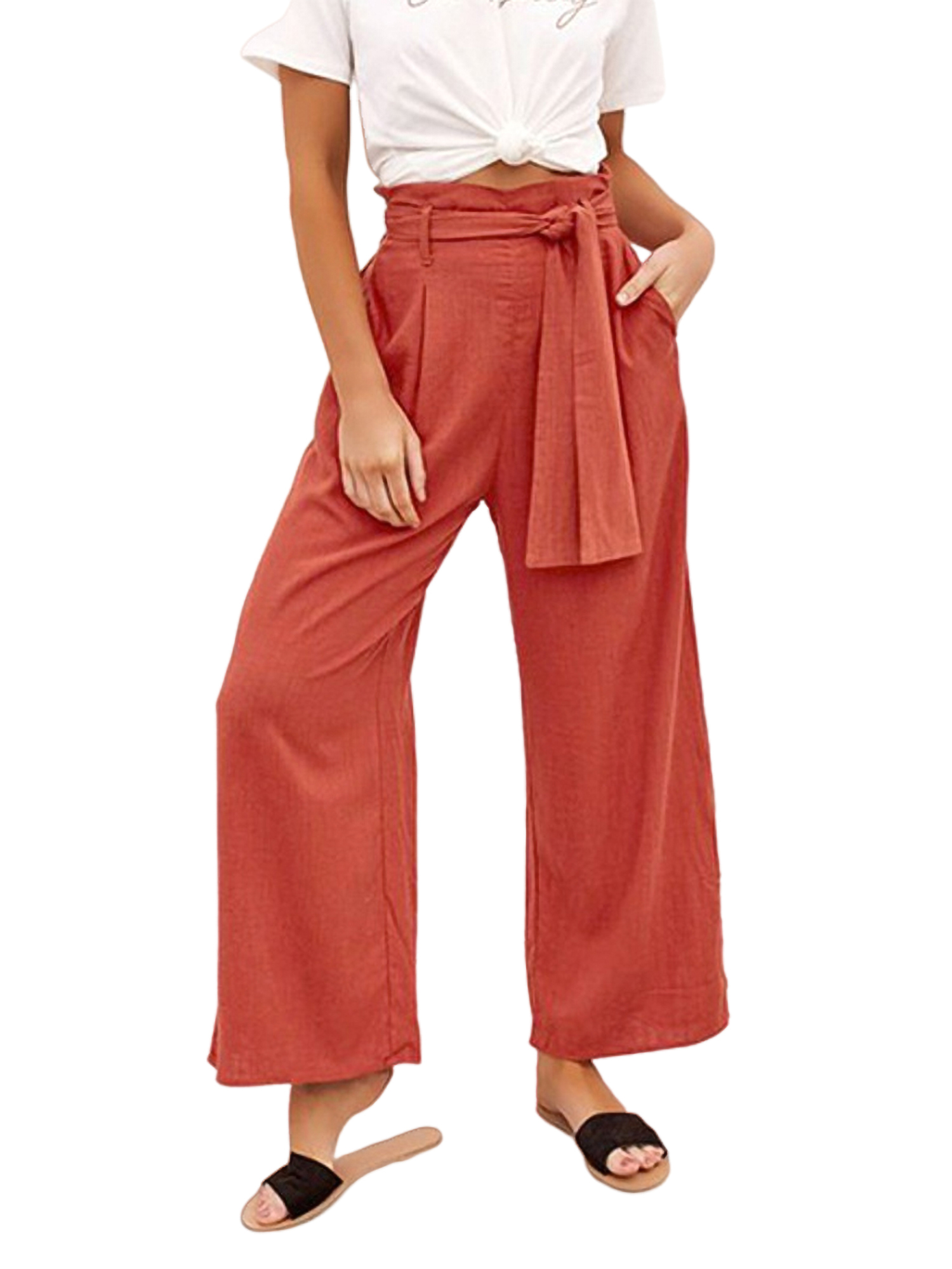 Womens Cotton Linen Trousers Ladies Loose Casual Pants Elasticated Waist Bottoms