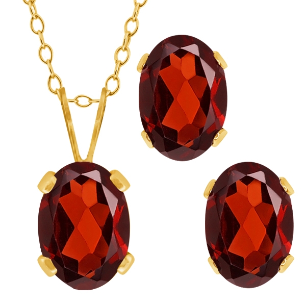 2.00 Ct Oval Red Garnet Gold Plated Silver Pendant Earrings Set