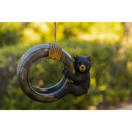 Alpine Bear Swinging on Tire Bird Feeder, 8 Inch Tall