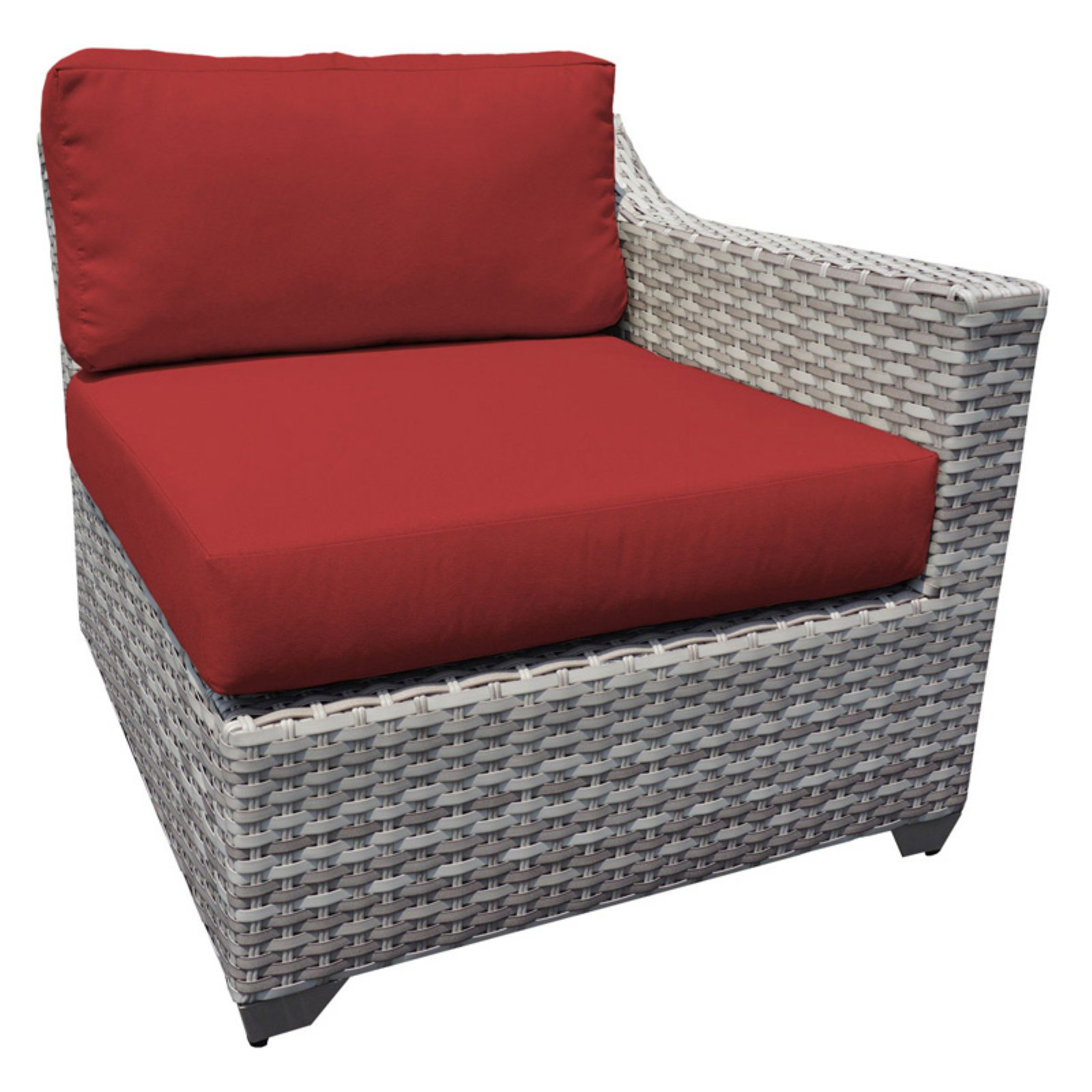 TK Classics Outdoor Wicker Left Arm Sofa Sectional Piece