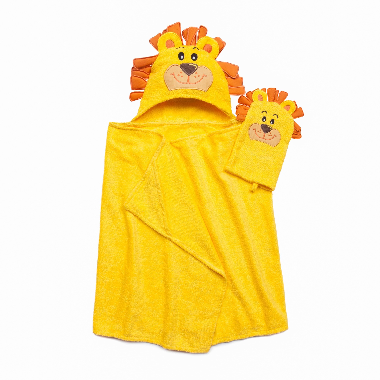 American Dawn Tub Time Tots Lion Hooded Kids Bath Wrap with Mitt