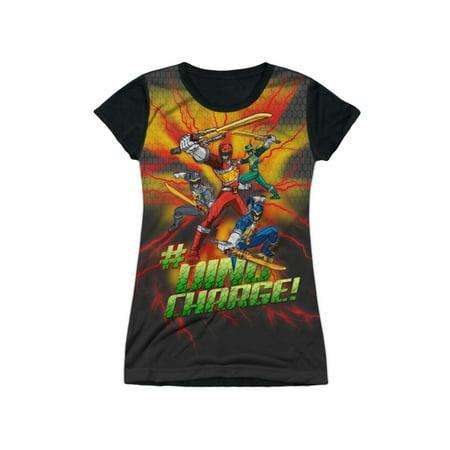 Power Rangers TV Series Cartoon #Dino Charge! Juniors Black Back T-Shirt