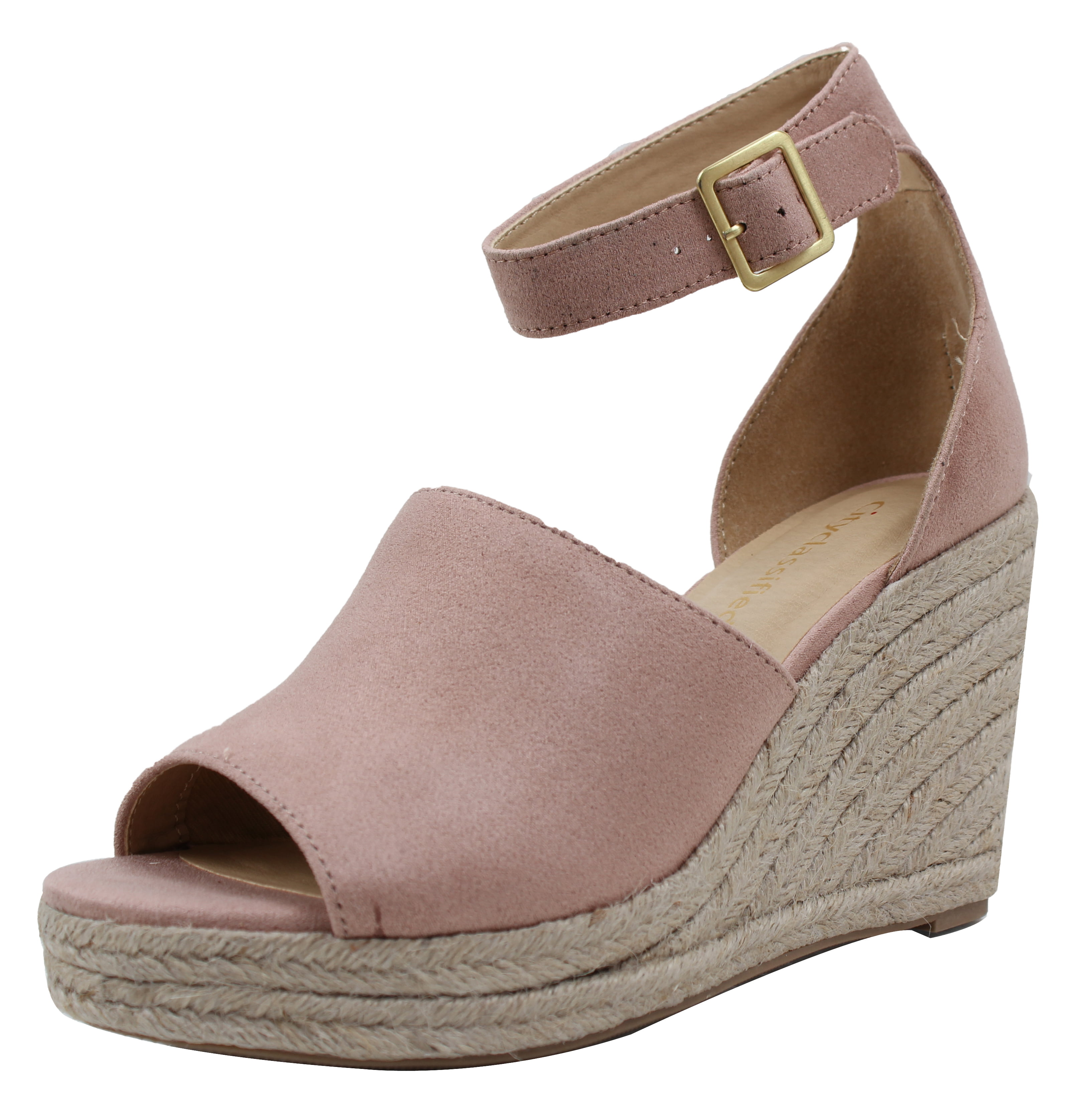 City Classified Gigi Womens Linen Closed Toe Wedge