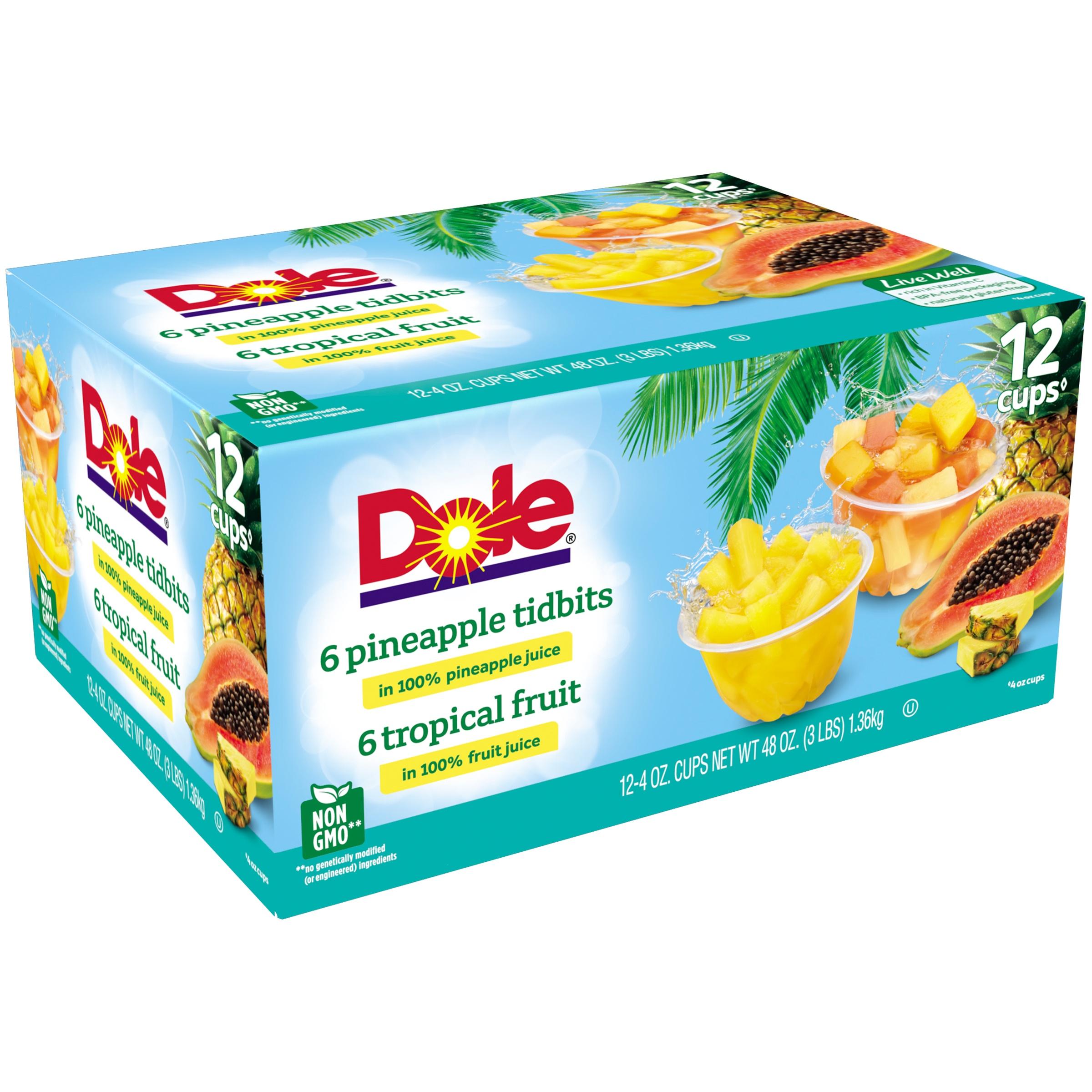 (2 Pack) Dole Fruit Bowls Tropical Fruit & Pineapple Tidbits in 100% Fruit Juice, 12 - 4 oz cups
