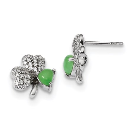 Jade Pot - Versil  Sterling Silver Rhodium-plated With CZ and Green Jade Clover Post Earrings