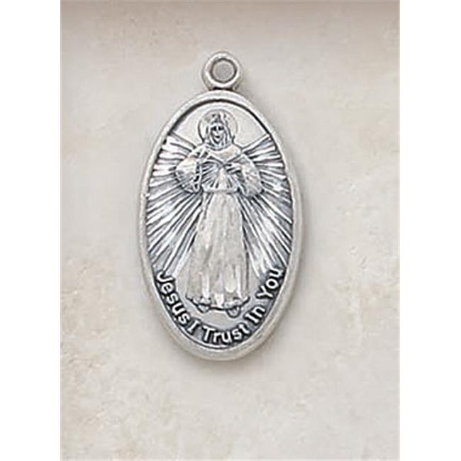 CB Catholic SS3770 STERLING DIVINE MERCY & 18 with 18 in. Chain