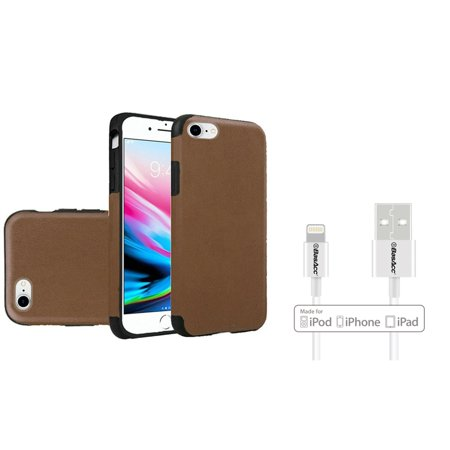 Insten Leather TPU Rubber Candy Skin Case Cover For Apple iPhone 7/8 - Dark Brown (Bundle with BasAcc MFI Certified Lightning (Teknic Lightning Leather)