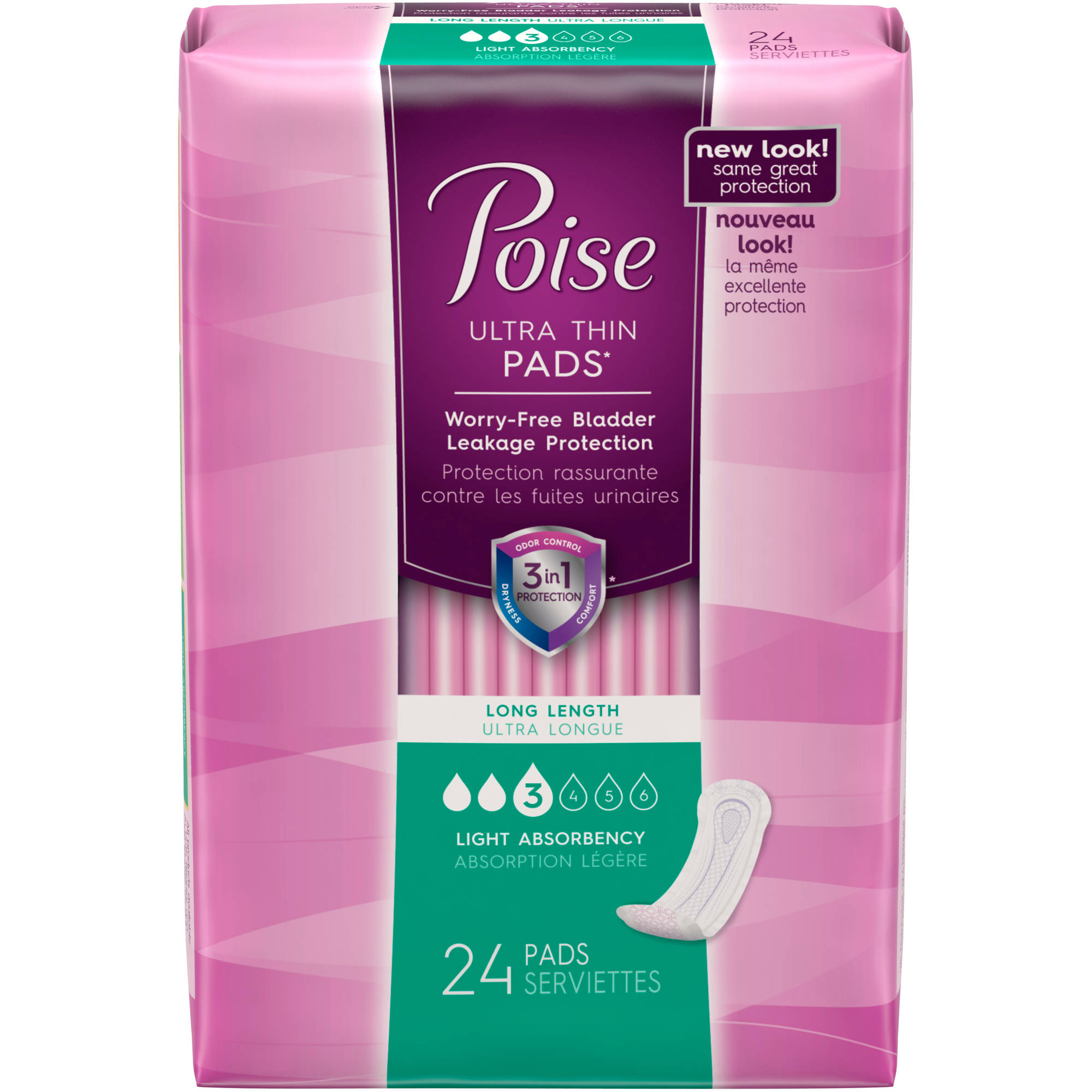 Poise Ultra Thin Incontinence Pads, 24 count