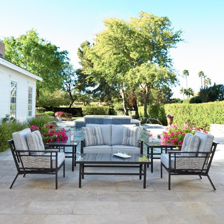 South Beach 6 Piece Aluminum Patio Deep Seating Conversation Set W/ Sofa, 2 Club Chairs & Granite Table Tops By Coyote Outdoor Living ()