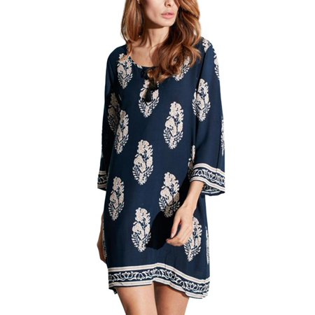 Womens Floral Casual Loose Mini Kaftan Dresses